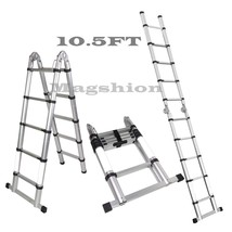 A-Frame 10.5 FT Aluminum Ladder Telescopic Extension Tall Multi Purpose ... - $99.09