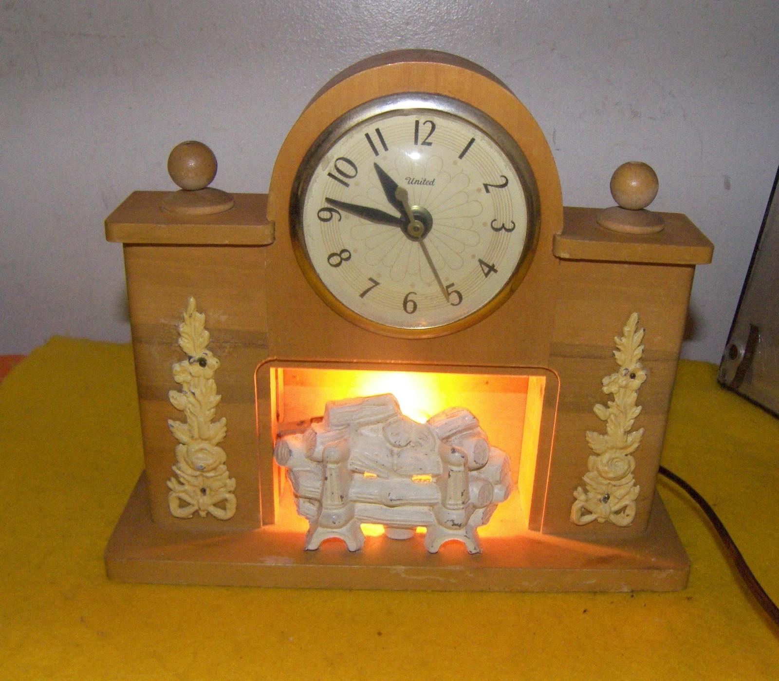 Fireplace Style Mantle Clock Electric Mantel Vintage 1950 S Shelf Mantel