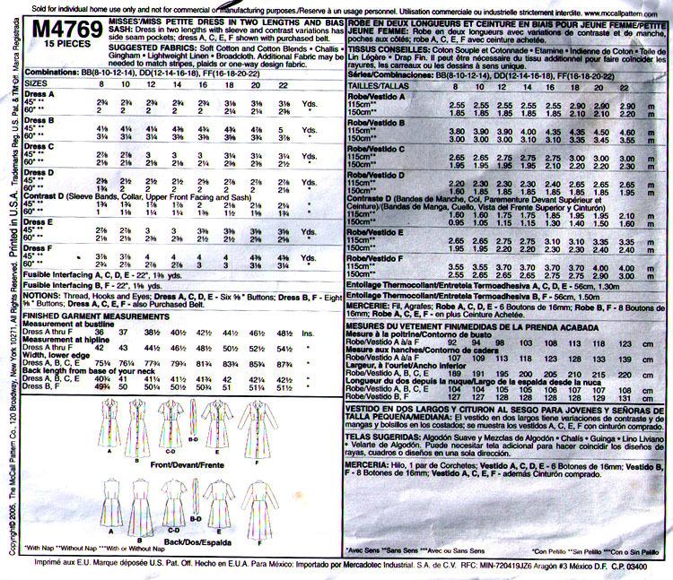 2005 DRESS with Darts Pattern 4769-m Sizes 8-10-12-14 - UNCUT