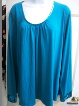 APOSTROPHE - Turquoise Top With Sequins - SZ 20 22 - $15.00