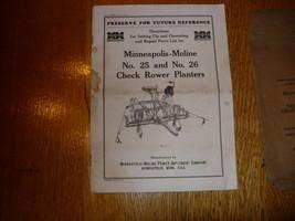 Vintage Minneapolis Moline No 25/26 Check Row Planter Manual w/Envelope  - $19.95