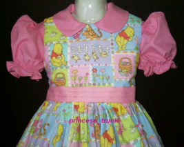 NEW Handmade Cute Winnie the Pooh/Piglet Easter Patchworks Dress Sz 12M-... - $59.98