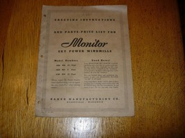 Vintage Monitor Sky Power Windmill Erecting Instructions and Parts List ... - $16.78
