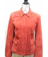 Alfani Women's Red Leather Coat Jacket Zipper Large Lined Sexy - $27.96
