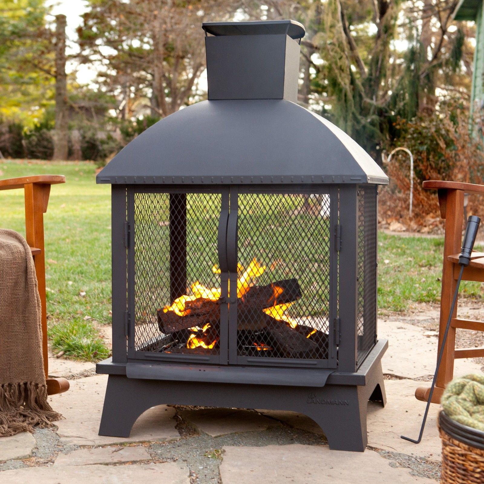 Outdoor Patio Fireplace Wood Burning Fire Pit Chiminea ...