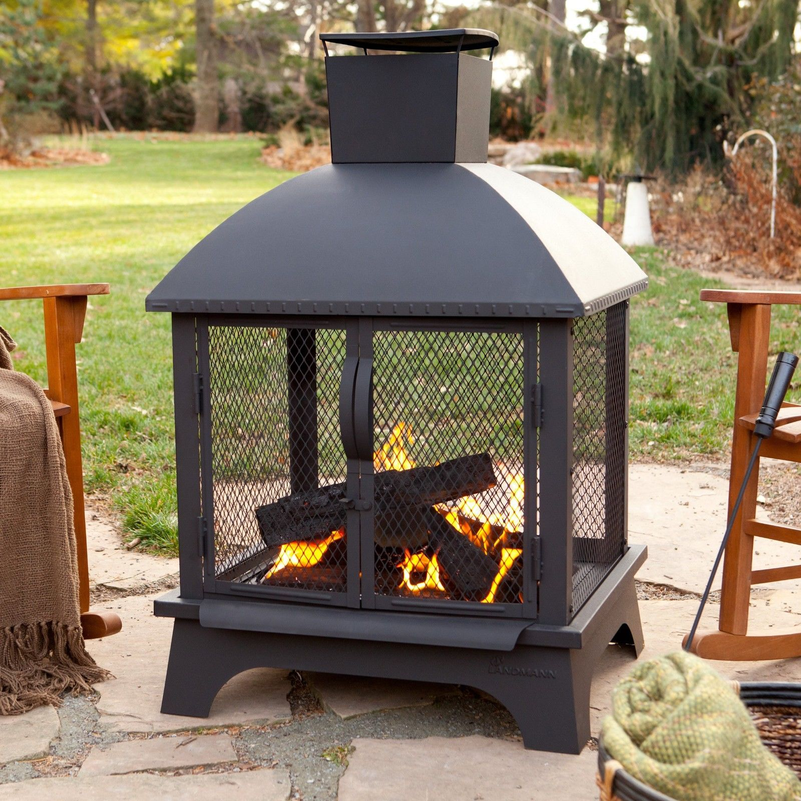 Outdoor Patio Fireplace Wood Burning Fire Pit Chiminea Deck Backyard Heater New Fire Pits
