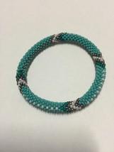 Roll On Glass Beaded Bracelet - Nepal Glass Bead1 Pc. Plain Torquois - $2.75