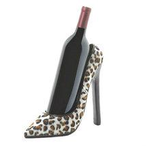 Leopard Print Stiletto High Heel Shoe Tabletop Single Wine Bottle Holder  - $19.27