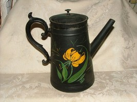 Old TIN Coffee Pot with TOLEWARE Hand Painted Tiger Lily Floral Signed DBH - $44.55
