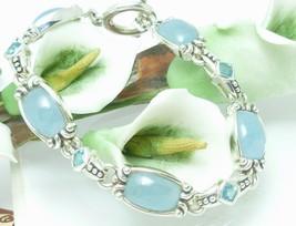 """Sterling Silver Blue Jade Blue Topaz Toggle Bracelet 7.5"""" - $139.00"""