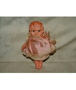 1920s JAPAN Molded Celluloid Doll Marcelle Wave Satin Clothes w/ Lace LABEL - $10.00