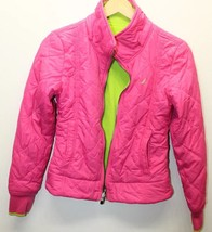 Nautica Girl Kid Jacket Pink Lime Green Nylon Fleece Reversible Sz 12/14... - $22.30
