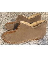 SLIPPERS WOMENS Moccasin SUEDE Sherpa Lined Leather Booties Tan Brown Si... - $25.12