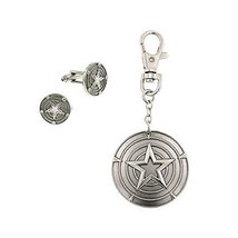 Marvel Captain America Boxed Cuff Link and Keychain Set - $24.74