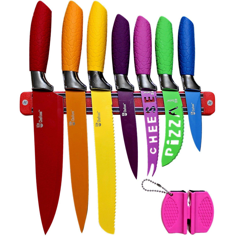 multi colored kitchen knife set magnetic strip sharpener