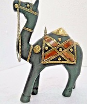 Vintage Reflections Rustic Carved Painted Brass fitted Wooden Camel Figu... - $32.53