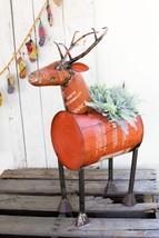Reclaimed Red Metal Barrel Deer Planter/Beverage Tub Ice Cooler Industri... - $188.10