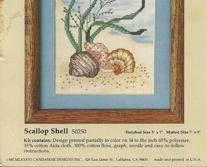 Scallop Shell Colored Counted Cross Stitch Kit 50250 Something Special 5 x 7 USA