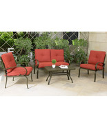 4 Piece Cushioned Outdoor Furniture Garden Patio Sectional Set Loveseat ... - $329.99