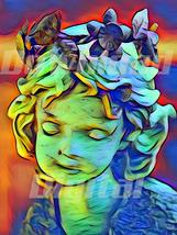 Digital download  angel statue child Cupid girl Wallpaper Painting Water... - $5.00