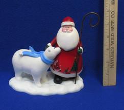 Russ Berrie Santa Claus & Polar Bear Resin Figurine Moments of Wonder Christmas - $16.82