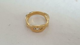 VINTAGE SIGNED AVON FAUX DIAMOND RYINESTONE OPEN FASHION RING SZ 6, GOLD... - $6.39