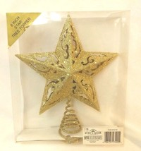 "Kurt Adler Star Tree Topper Gold Glitter Elaborate Design 8"" Unused Orig... - $14.01"
