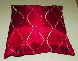 Red Gold Beige Print Throw Pillow  18 x 18 - $29.95