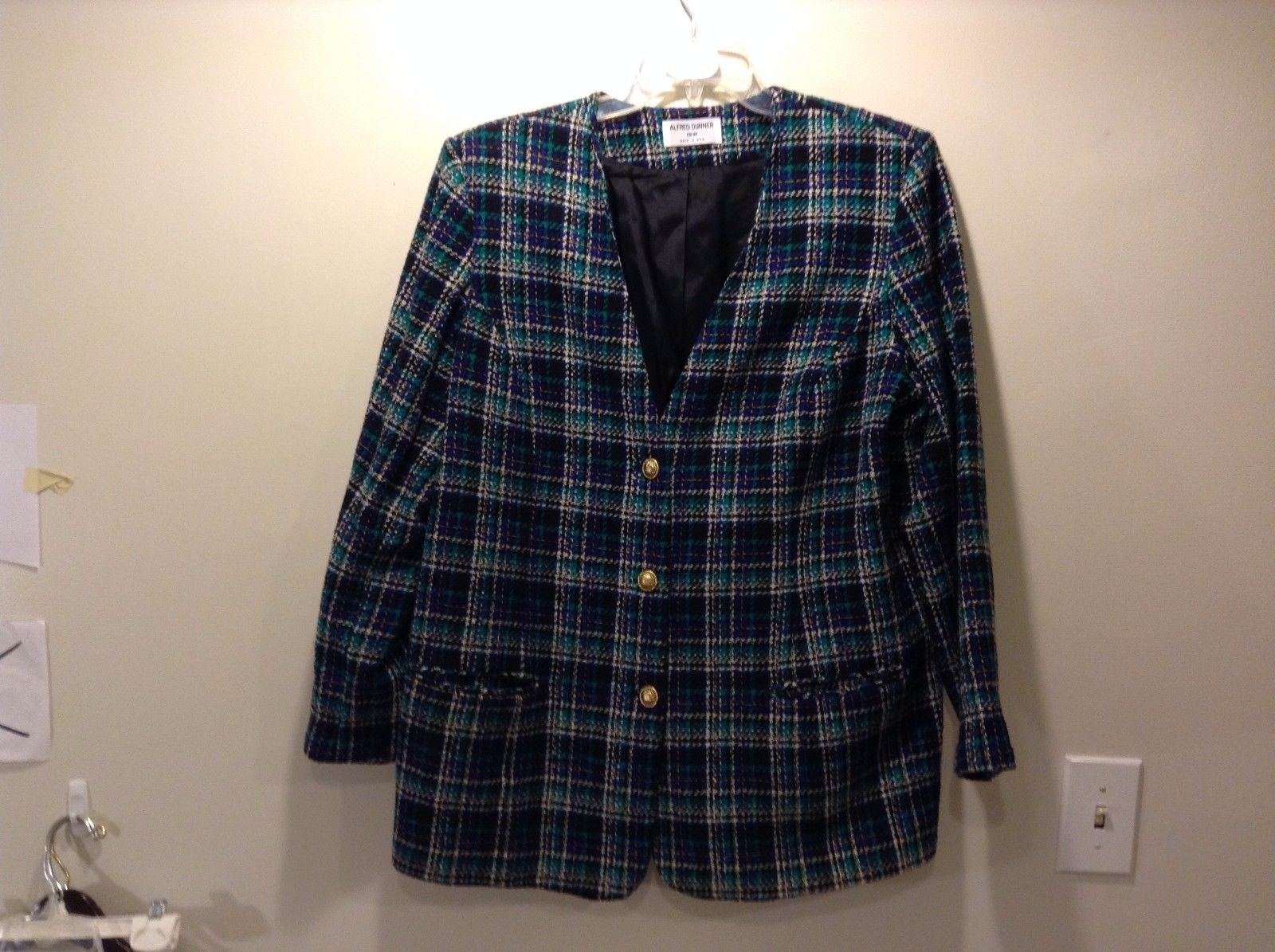 Used Great Condition Alfred Dunner Blazer 16W Blue Green White Plaid Button Up