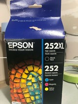 Epson 252XL Black, 252 CMY Ink Cartridges Expire 12/21 (B25j) C13T253920 - $49.50
