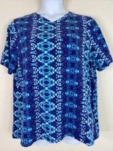 Liz & Me For Catherines Womens Plus Size 1X Blue Geometric T-Shirt Short... - $20.70