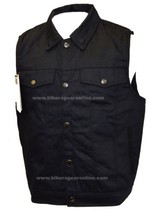 MEN'S MOTORCYCLE RIDING JEAN STYLE W/SHIRT COLLAR BLACK DENIM  VEST GUN ... - $46.46+