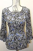 Oscar By Oscar De La Renta Silk Polka Dots Ruffle Women Blouse Sm Violet Black - $37.36