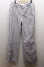 Banana Republic The Martin Fit Gray Stripe 8 Linen Square Women Pants 32 Inches - $32.71