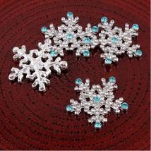 10pcs Snowflake Rhinestone Buttons,Flat Back Dressing Decoration Buttons - $7.20