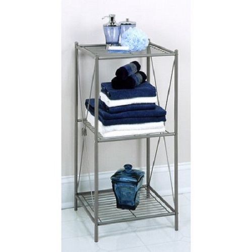 Bathroom storage rack bath towel shower organizer cabinet 3 shelves free stand