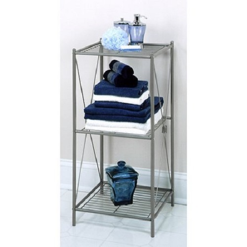 Bathroom storage rack bath towel shower organizer cabinet 3 shelves free standing stand