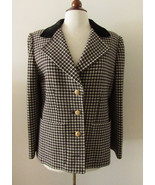 Womens Vintage GIVENCHY Nouvelle Boutique Wool Houndstooth Coat ~ Medium - $138.97