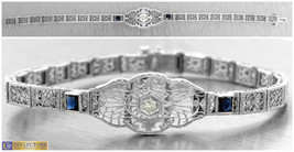 Ladies Art Deco 14K 585 White Gold Filigree Diamond Blue Sapphire Bracelet - $994.49