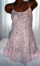 Stretch Lace Nightgown Slip Chemise 1X 3X Pink White Lace Short Gown - $16.99