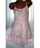 Stretch Lace Nightgown Slip Chemise 1X Pink White Lace Short Gown - $16.99