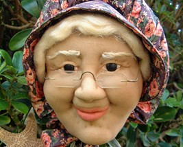 Vintage Old Woman Doll Sculpted Face Towel Holder Bonnet OOAK - $15.95