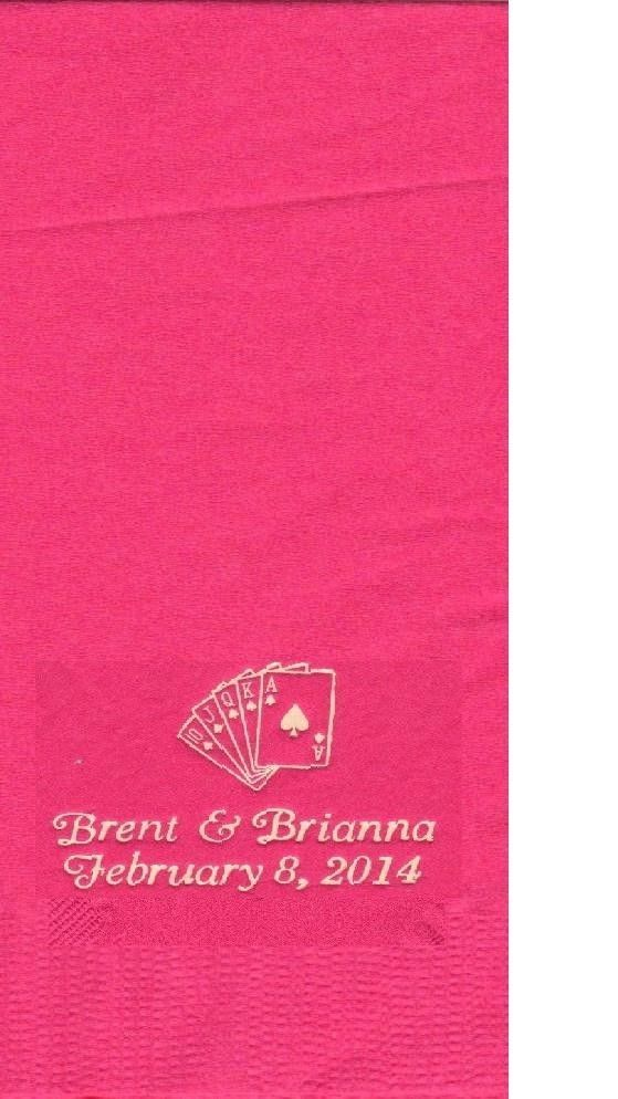 ROYAL FLUSH CARDS LOGO 50 Personalized printed DINNER HAND TOWEL FOLD napkins