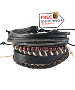 1Set 4pcs UP02429 Adjustable Leather Bracelet Cuff Women Men`s Casual Je... - $17.00