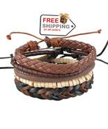 1Set 4pcs UP02431 Adjustable Leather Bracelet Cuff Women Men`s Casual Je... - $17.00