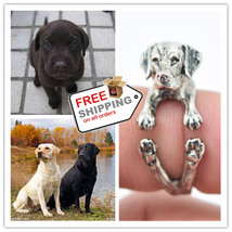 Labrador Golden Retriever Rings Adjustable Cute Puppy Gift Jewelry - $14.00