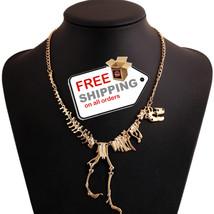 Gold Dinosaur Skeleton T-Rex Dead Tyrannosaurus Choker Necklace For Women - $13.00