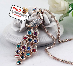 Peacock Long Necklace Pendants Fashion Fine Jewelry Super Dazzling Gold ... - $15.00