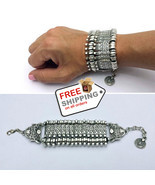 Egyptian Tribal Coin Bracelet Style Bohemian Silver Bangle Unisex - $17.00