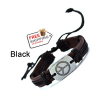 Peace Leather Bracelets Women Men Vintage Jewelry 2016 Cuff Cuff Weave Wrap - $13.00
